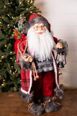 "24"" Standing Santa Plaid W/ Lantern/Snow Shoes"