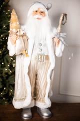 "36"" Standing Santa Silver White W/ Bag/Tree/Staff"