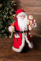 "18"" Standing Santa with Bag and Bear"