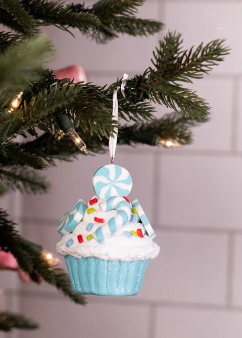 Blue Cupcake Christmas Tree Ornaments