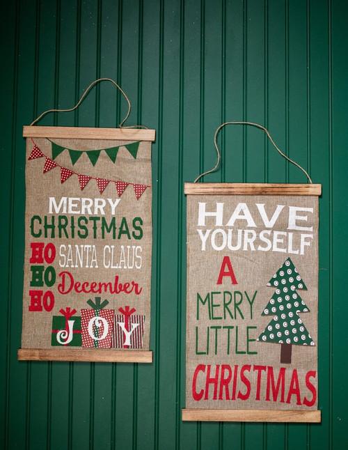 Burlap Christmas Present Wall Hanging Décor