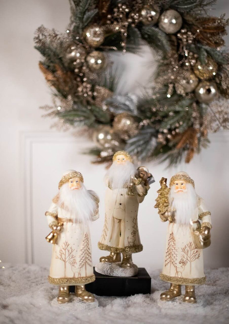 Champagne and Ivory Elegant Resin Santa