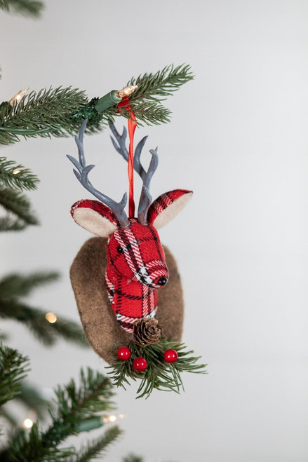 Red Medium Plaid Fabric Reindeer Head Christmas Tree Ornaments