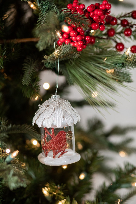 Red  Bird House Glass Christmas Tree Ornaments