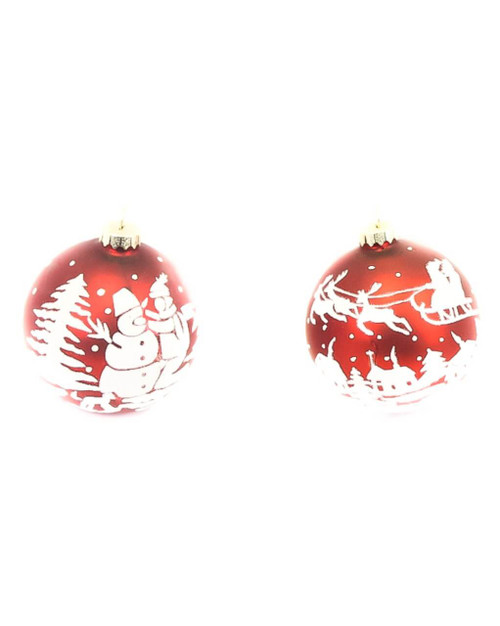 Glass Christmas Scene Christmas Ornaments