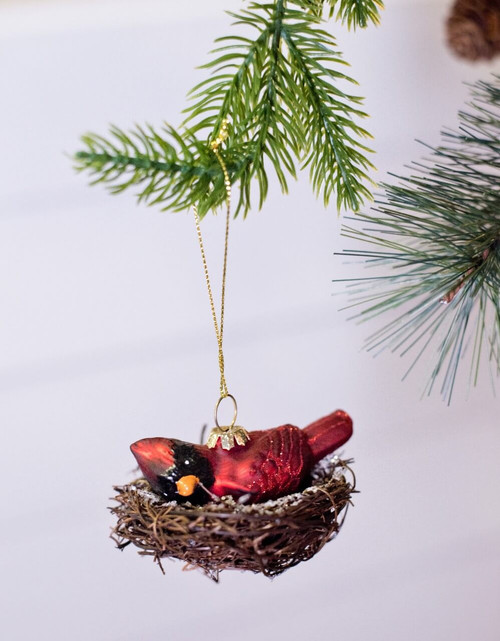 Glass Red Bird Nest Christmas Tree Ornaments