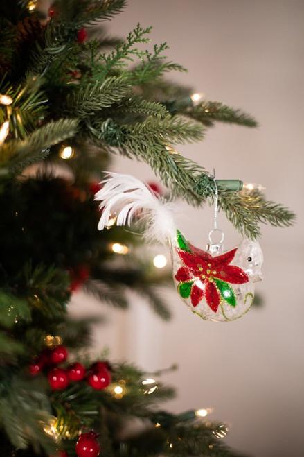 Glass Poinsettia Bird Christmas Ornaments