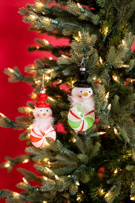 Glass Peppermint Snowman Christmas Tree Ornaments