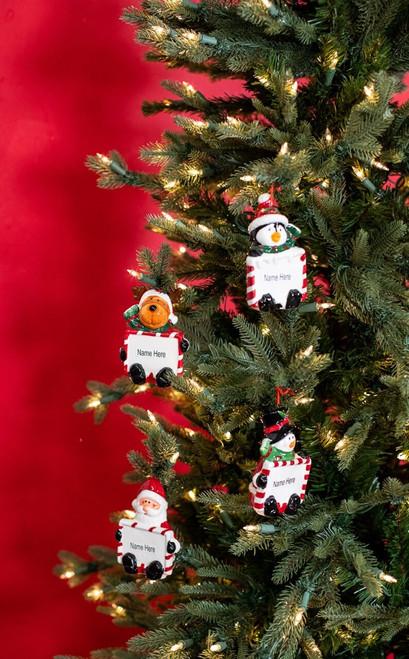 Glass Holiday Character Name Christmas Tree Ornaments Customizable