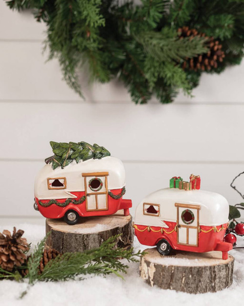 Light Up Resin Christmas Campers
