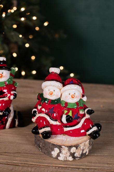 Ceramic Snowmen Figurine