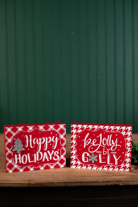 Red Christmas Block Décor