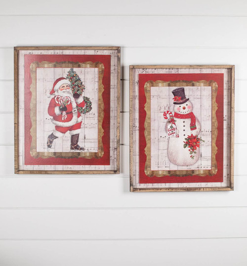 Santa Snowman Sheet Music Framed Wall Décor