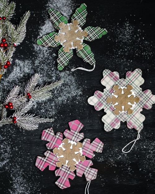 Plaid  Snowflakes Christmas Tree Ornaments