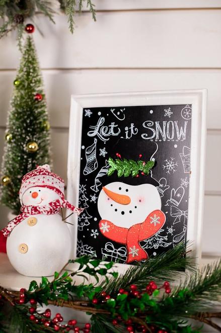 White Frame Snowman Wall Art
