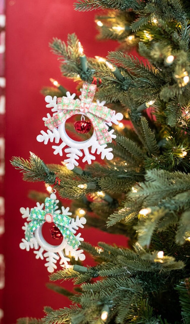 Snowflake Christmas Tree Ornaments with Jingle Bell