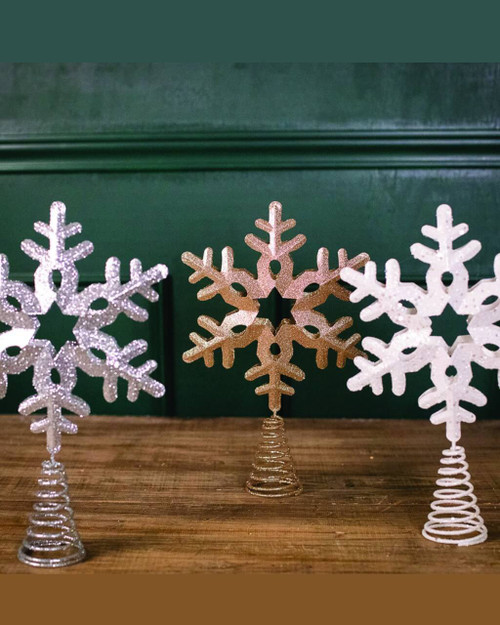 White, Champagne and Silver Metal Glitter Snowflake Tree Topper