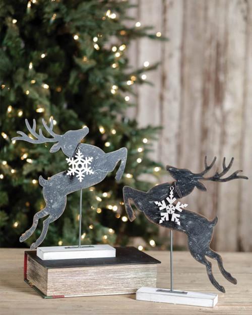Metal Jumping Reindeer Snowflake Décor