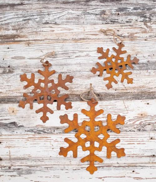 Metal Rusty Snowflakes Christmas Tree Ornaments