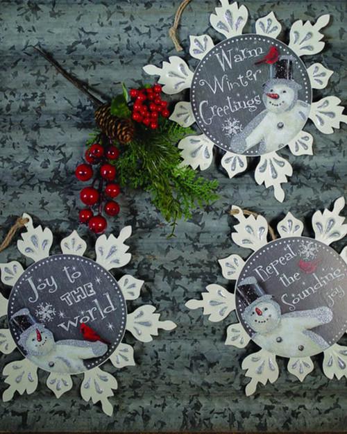 Metal Snowflake with Snowman Christmas Ornaments