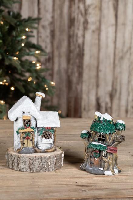 Mini Resin Light Up Elf Houses
