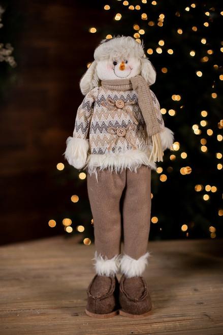 Plush Beige Snowman