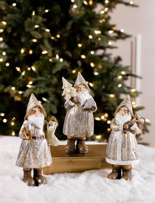 Resin Santa Glitter Stocking Figurine
