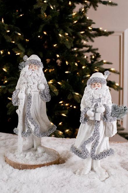 White and Silver Resin Elegant Santa Figurine