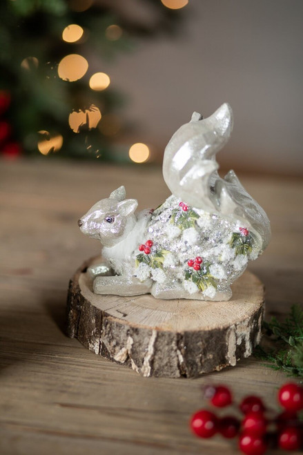 Holly Berry Squirrel Figurine Laying