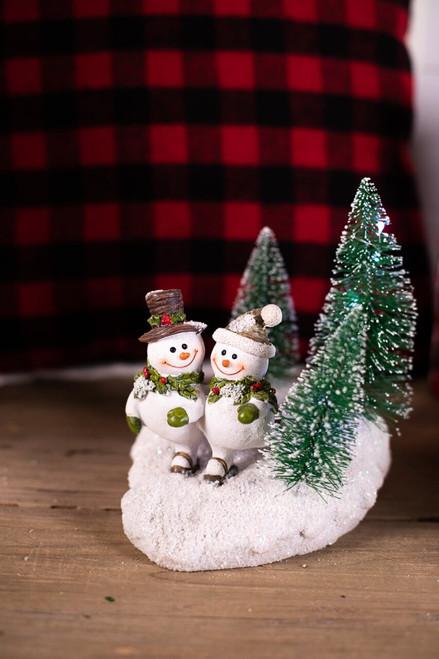 Resin Lightup Snowman Scene