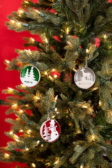 Small Metal Dome Scene Christmas Tree Ornaments