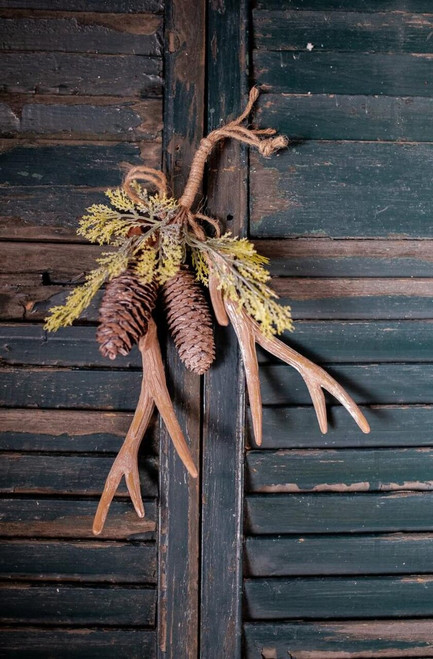 Hanging Antler Christmas Tree Ornaments with Cedar