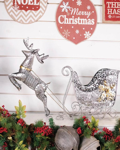Metal Reindeer Sleigh Decor