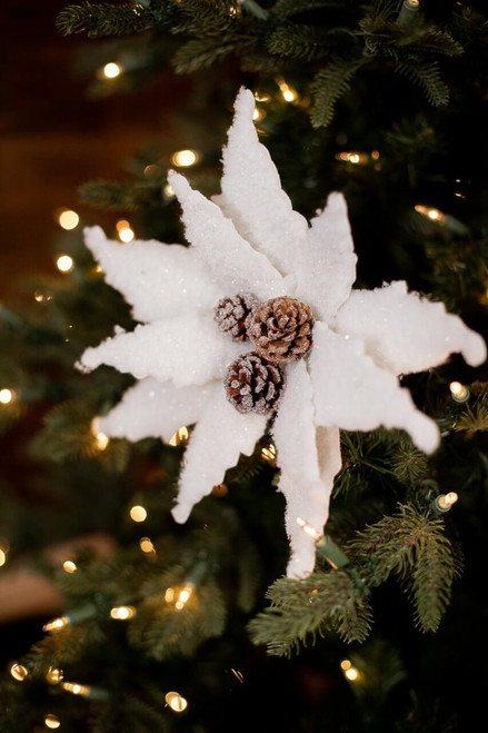 Woolly White Poinsettia with Pinecone Center Christmas Tree Flower