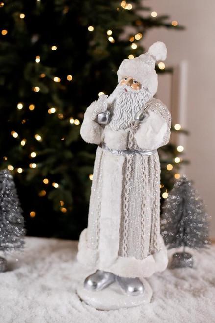 White and Silver Large Resin Elegant Knit Santa