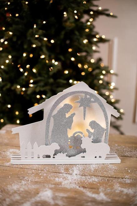 White and Silver Glitter Light Up Nativity Scene