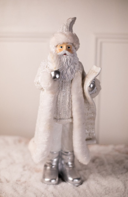 White and Silver Resin Elegant Santa with List