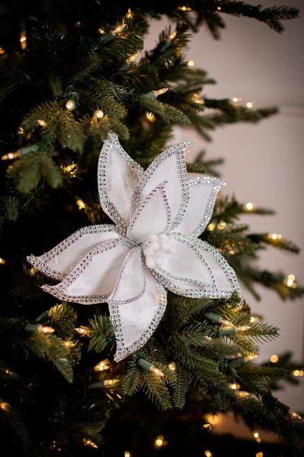 White Velvet Bedazzled Poinsettia Christmas Tree Flower Stem