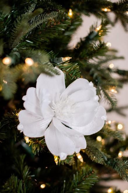 White Glitter Velvet Magnolia Flower Stem Christmas Tree Flower