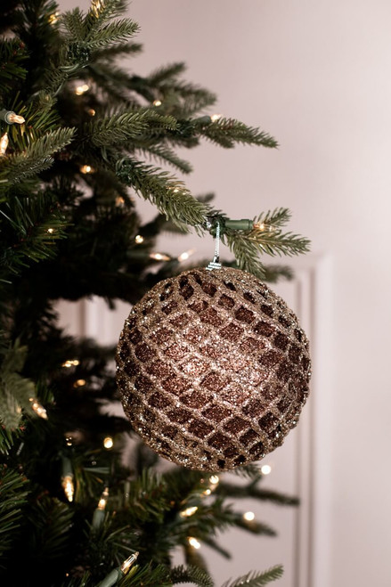 Large Chocolate and Champagne Glitter Net Ball Christmas Ornaments