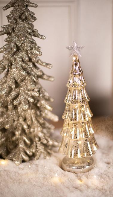 Platinum Mercury Glass Light Up Tree