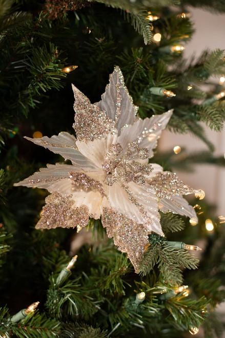 Sheer Champagne Glitter Poinsettia Christmas Tree Flower