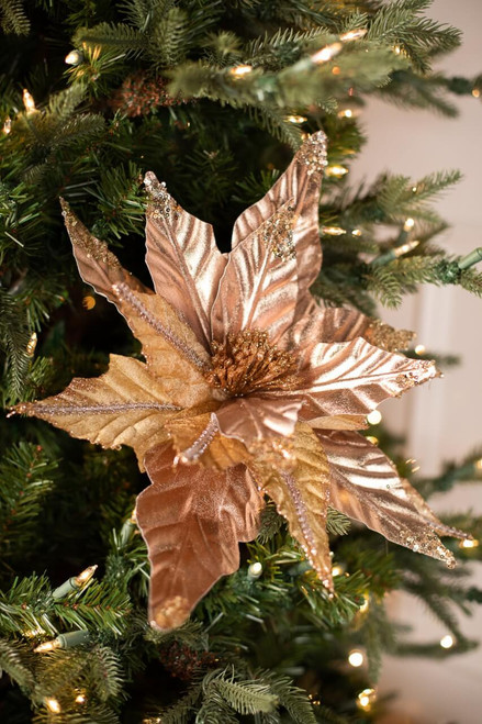 Taupe Glitter, Sequin and Cord Poinsettia Christmas Tree Flower