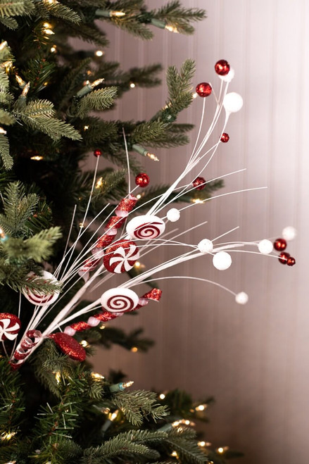 Red and White Glitter Peppermint Candy Christmas Tree Spray