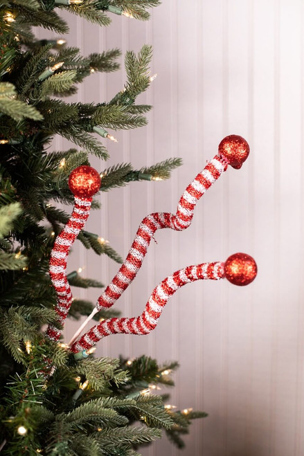 """35"""" Tinsel Peppermint Twist with Ball Spray"""