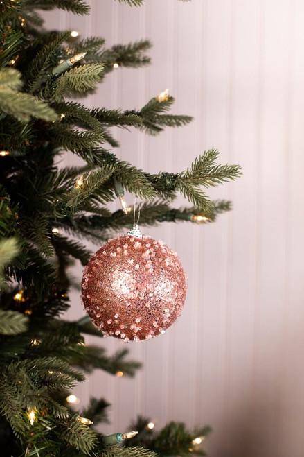 Small Light Pink Iced Ball Christmas Ornaments