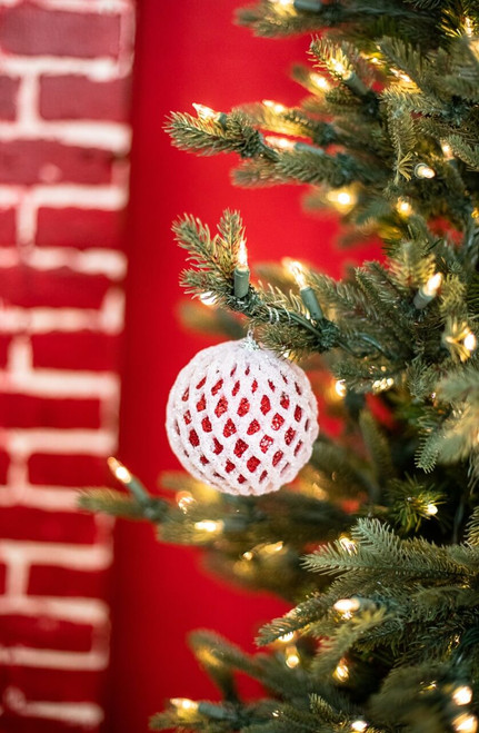 Small Red and White Glitter Ball Christmas Tree Ornaments