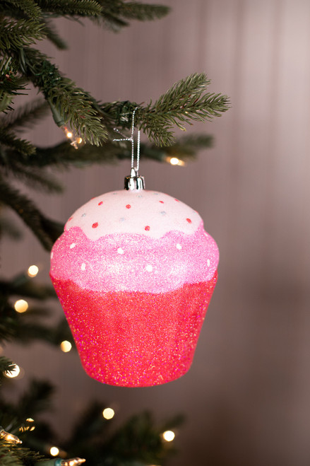 Large White, Pink and Red Cupcake Ornament