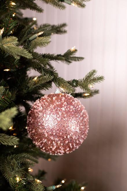 Large Light Pink Glitter Iced Ball Ornament