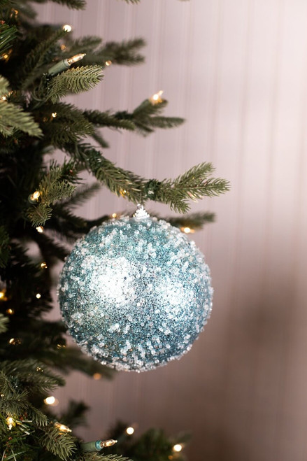 Large Blue Glitter Iced Ball Christmas Ornaments